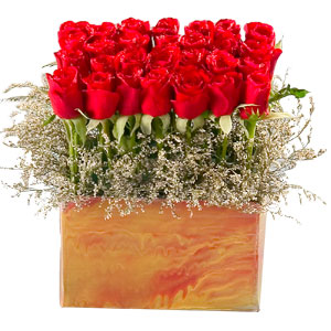 Impressive Blooming Happiness 35 Red Roses Arrangement and Greens