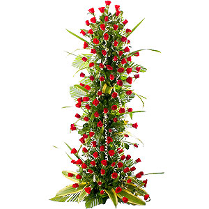 Eye-Catching Moments in Love 100 Red Roses Arrangement 3 - 4 ft High