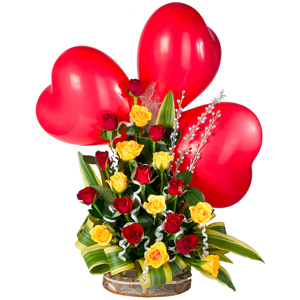 Spectacular 3 Red Heart Shaped Balloons with 20 Colorful Roses