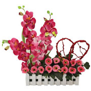Lovely Orchids with Matching Flowers and a Red Heart with Passion<br>