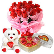 Ambrosial Chocolate Box, Teddy with Heart and Red Rose Bouquet