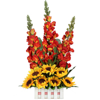 Striking Arrangement of Artificial Long Floral Stem N  Striking Sunflowers in a Basket<br>