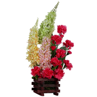 Stylish Array of Art Pink Carnations with long floral stems in a Basket