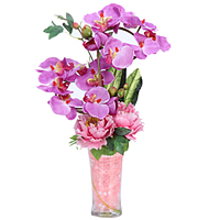 Heavenly Collection of Synthetic Orchids N Roses in a Glass Vase