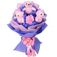 Charming Artificial Pink Carnations N Cute Pink Teddies Bookey