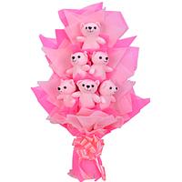 Attractive Bunch of 6 Pink Teddies
