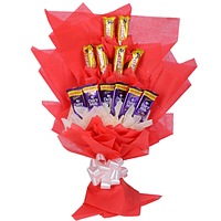 Luscious Chocolate Bouquet of Six Cadbury Dairy Milk N Six Cadbury Five Star