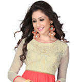 Extravagant Beige and Pink Coloured Georgette Embroidered Kurti