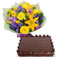 Dazzling Mixed Flower Bunch with Chocolate Cake