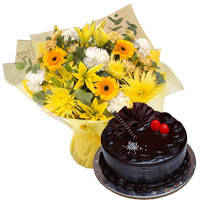 Tender Mixed Flowers Bunch with Choco Truffle Cake