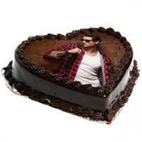 Dark Chocolate Heart-Shape Photo Cake