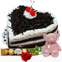 Favorite Heart Shape Black Forest Cake with Ferrero Rocher, Teddy N Single Rose