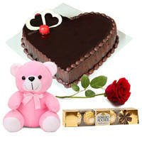 Special Design Heart Shape Chocolate Cake with Teddy, Red Rose N Ferrero Rocher