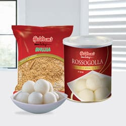 Rasgulla with Bhujia from Haldiram to Kerala