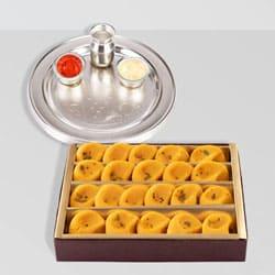 Silver Plated Thali with Kesaria Pedas from Haldiram