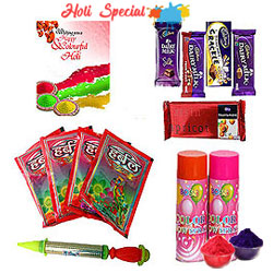 Wonderful Special Gulal and Chocolate Holi Hamper