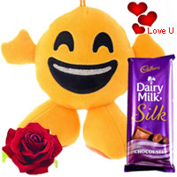 Smiley Love with a Cadbury Silk Bar & a Free Silk Red Rose