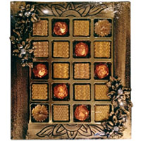 Attractive Present of Mixed Handmade Chocolates with Lovely Diya Candles