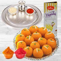 Enjoyable Holi Gift of Puja Thali, Ladoo, Thandai with Gulal