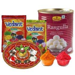 Sweet Colors Combo of Puja Thali with Herbal Gulal N Haldiram Rasgulla