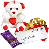Yummy Cadbury Silk with Pizza Hut Gift Voucher N Teddy