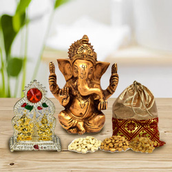 Adorable Lord Ganesha Murti with Mandap and Dry Fruits