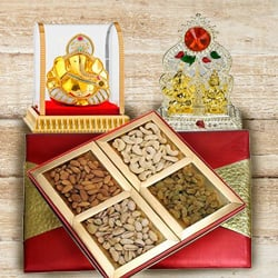 Designed Puja Mandap with Ganesh Murti and Assorted Nuts Dry Fruits Box