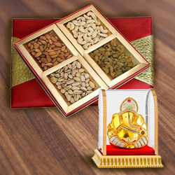 Exceptional Gift Box of Assorted Dry Fruits with Vinayak Idol