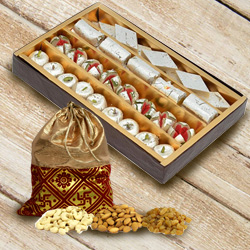 Delicious Combo of Assorted Haldiram Sweets and Dry Fruits