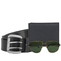 Exquisite Combo of Fastrack Belt N Sunglass with Longhorn Leather Wallet<br>