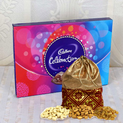 Scrumptious Cadbury Celebration Chocolate Pack with Dry Fruits Potli