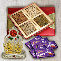 Classical Gift Box of Mixed Dry Fruits with Ganesh Mandap N Chocolates