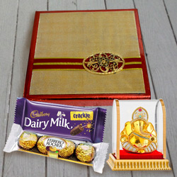 Indulgent Gift of Assorted Dry Fruits N Chocolates Gift Pack with Vighnesh Ganesh Idol