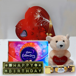 Say Happy Birthday with Teddy and Chocolate HAmper