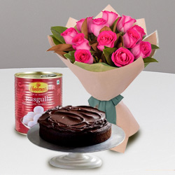 Eggless Cake with Red Rose Bouquet N Haldirams Rasgulla