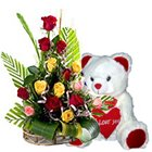 Expressive Forever in Love 15 Mixed Roses with cute Teddy Bear