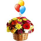 Breathtaking Love Delight Colorful Bouquet of Beautiful Flowers and Bright Balloons