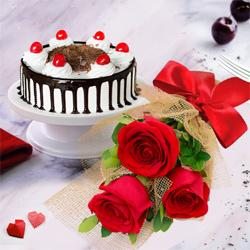 Red Rose Bouquet with a Black Forest Cake