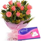 Cadbury Celebrations Pack with Pink Roses Bouquet