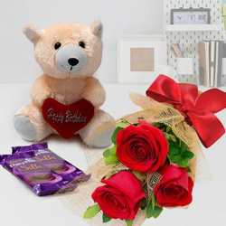 Ideal Small Teddy, Roses and Dairy Milk Silk Chocolate Bars