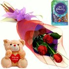 Marvelous Red Rose Hand Bunch, Cute Teddy and Cadbury Assortment Mini Pack