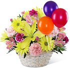 Bright Balloons N Assorted Flowers Basket