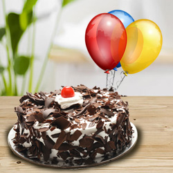 Delicious Black Forest Cake with Balloons