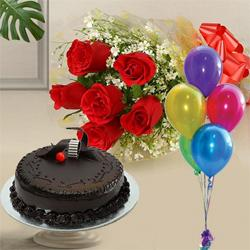 Enjoyable Chocolate Cake with  Red Roses and Balloons