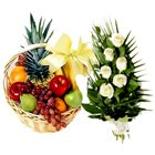 Delicious Fruits Basket N Roses Bunch