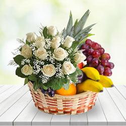 Amazing Basket of Fruits N White Roses