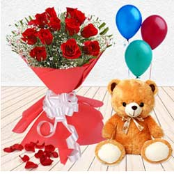 Magical Delight Combo of Red Roses, Teddy and Balloons