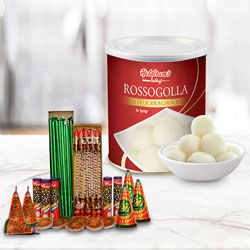 Superb Hamper of Haldiram Rasgulla and Crackers