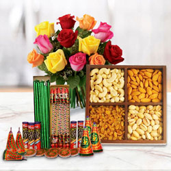 Wondrous Combo of Dry Fruits, 12 Pcs Mixed Roses and Crackers