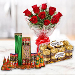 Anomalous Combo of 16 Pcs Ferrero Rocher Chocolates, 10 Pcs Red Rose Bunch and Crackers